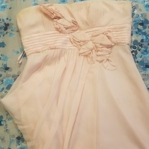 BCBG Pale pink Strapless dress with floral appliqu